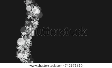 snowflake border for christmas and new year holidays horizontal snowflake border on black background