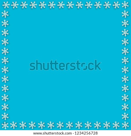 snowflake border for christmas and new year holidays square snowflakes frame on blue background
