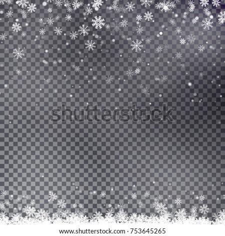 Snowflake border vector. Christmas falling snow background.