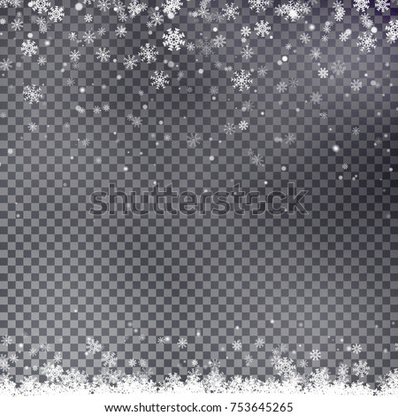 Snowflake border vector isolated on transparent background. Christmas falling snow frame. Winter xmas illustration.