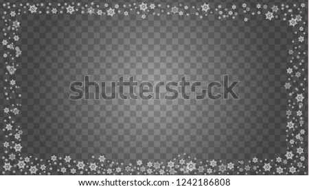 Snowflake border vector isolated on transparent background. Vector illustration. #1242186808