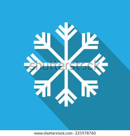 snowflake flat icon with long