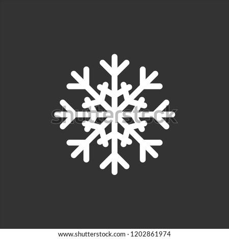 Snowflake icon. Christmas and winter theme. Simple flat black illustration