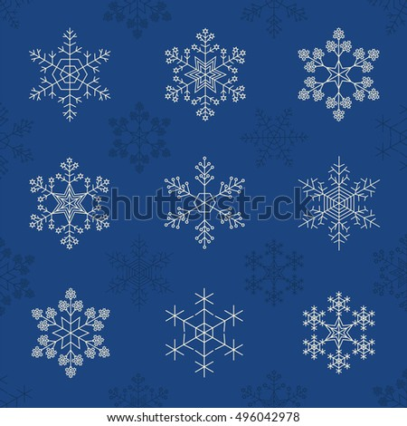 Snowflake icon set. Vintage outline version. Vector illustration