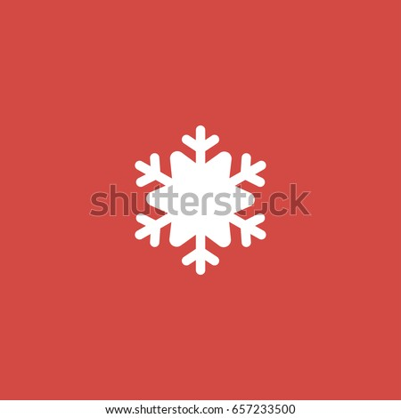 snowflake icon. sign design. red background