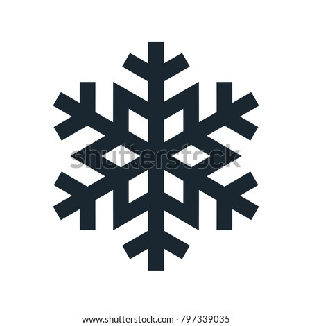 Snowflake icon, vector simple flat single color isolated on white. Christmas winter holiday theme decorative design element.