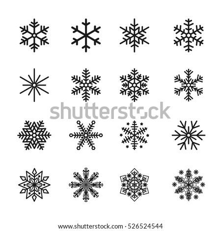 snowflake icons black vector