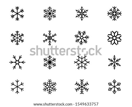 Snowflake icons. Set of winter snowflakes. Winter snowflakes sign, isolated on background. different snowflakes in flat style for web design