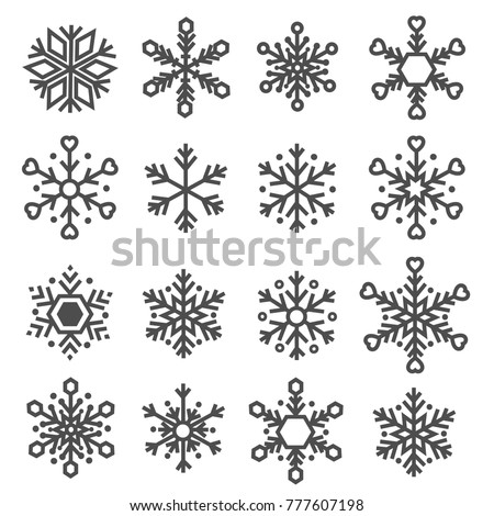 snowflake line icons set vector