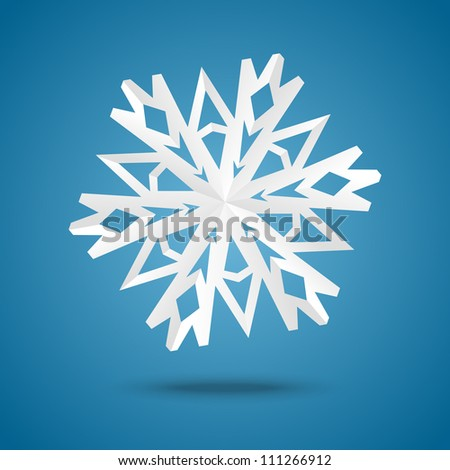 Snowflake origami on blue background