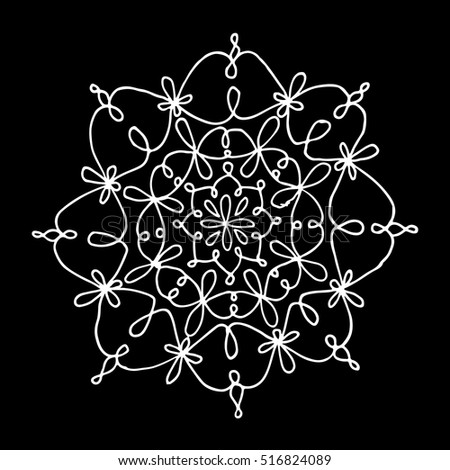 Snowflake ornament on a black background. Snowflake ornament vector. Snowflake ornament object. Snowflake ornament isolated. Snowflake christmas. Snowflake ornament mandala. Snowflake ornament element