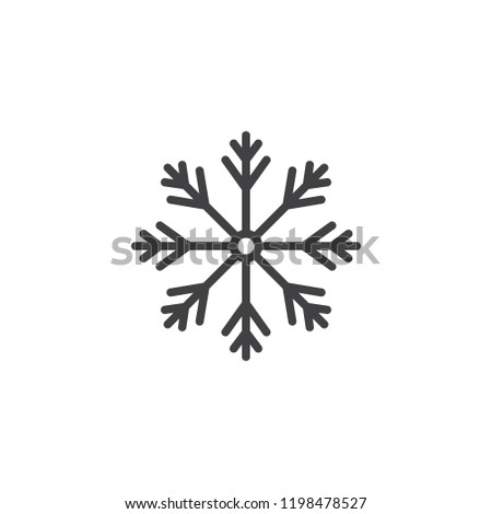 Snowflake outline icon. linear style sign for mobile concept and web design. Snow winter holiday simple line vector icon. Symbol, logo illustration. Vector graphics