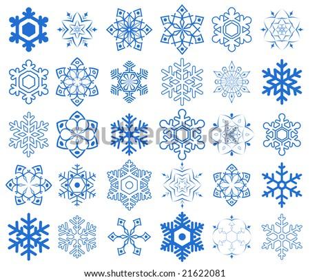 Snowflake set - stock vector