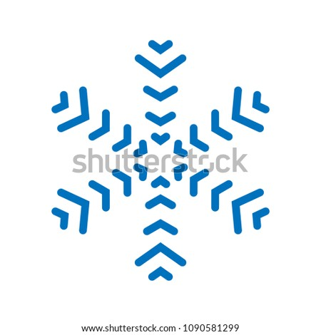 Snowflake sign. Blue Snowflake icon isolated on white background. Snow flake silhouette. Symbol of snow, holiday, cold weather, frost. Winter design element Vector illustration