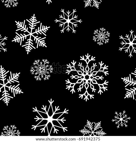 Snowflake simple seamless pattern. Abstract wallpaper, wrapping decoration. Symbol of winter, Merry Christmas holiday, Happy New Year celebration Vector illustration