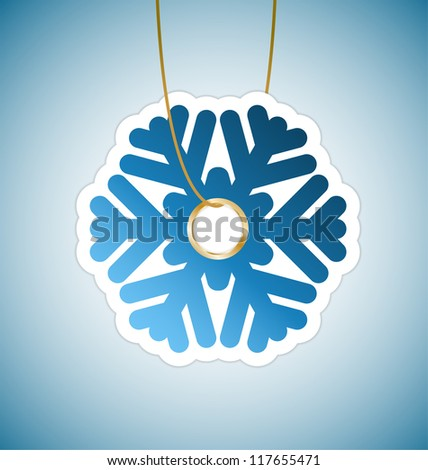 Snowflake tag on blue background