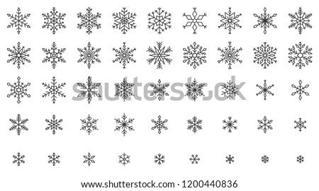Snowflake thin line icons set. Outline web sign kit of snow. Winter linear icon collection includes hexagon crystal, ice, snowy pattern. Snowflake simple black contour vector symbol isolated on white