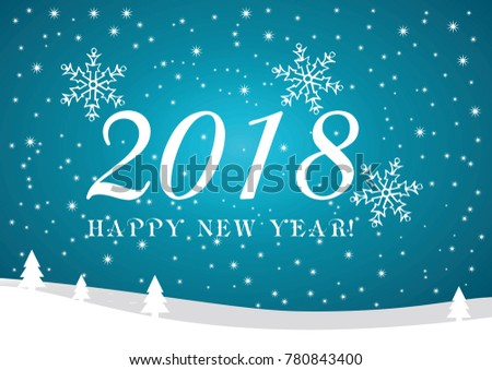 Snowflake Vector Background Set Blue Color Happy New Year Banner With 2018 Numbers On Bright