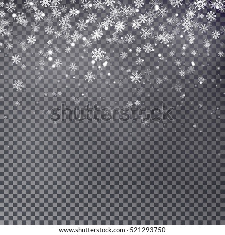 Snowflake vector. Falling Christmas snow isolated. Snowflakes decoration effect. Transparent snow flake pattern.