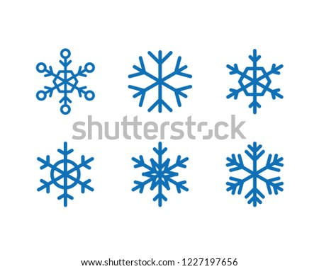 Snowflake vector icon collection, snow winter season symbol, christmas decorative graphic element