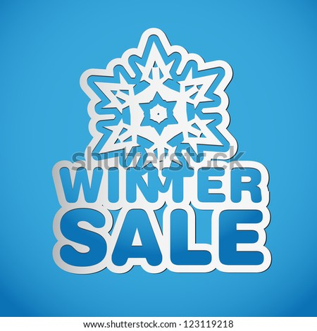 Snowflake vector paper winter sale - sticker - Christmas offer