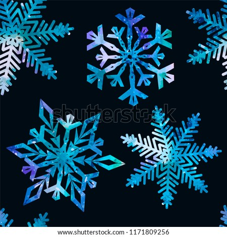 snowflake watercolor seamless