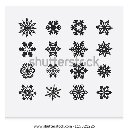 snowflake winter set  vector   2