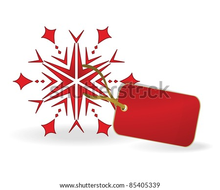 Snowflake with a label. Vector illustration