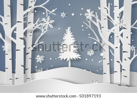 Stock Photo snowflakes and christmas tree.paper art and  digital craft style.