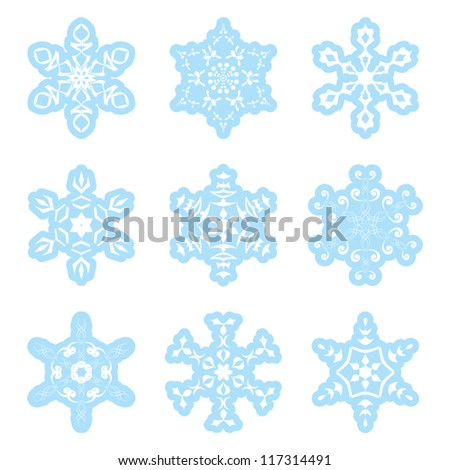 snowflakes - blue and white - vector set