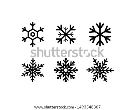 snowflakes collection. black snowflakes isolated on white background. six different snowflakes in flat style for web design. Eps10