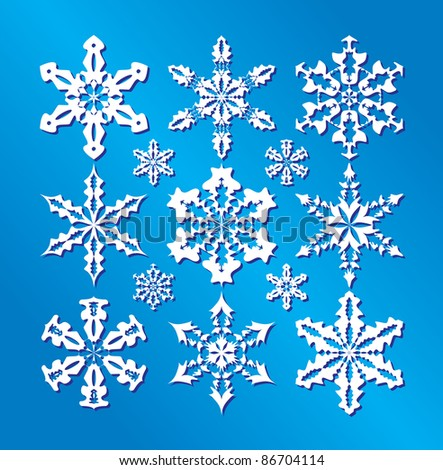 Snowflakes collection, element for design, vector illustration