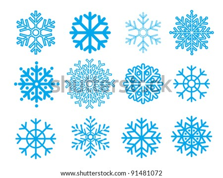 Stock Photo Snowflakes collection. Element for design. Vector  illustration
