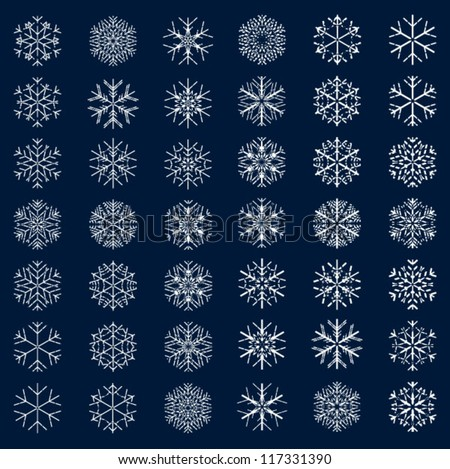 snowflakes, decorative snowflake set, beautiful snowflakes set