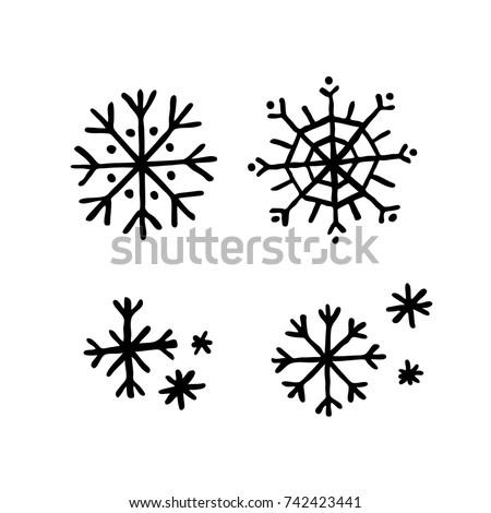 snowflakes doodle icon