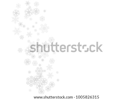 Snowflakes falling on white background. Horizontal Christmas and Happy New Year theme. Silver falling snowflakes for banner, gift card, party invitation, partner compliment and special business offers #1005826315