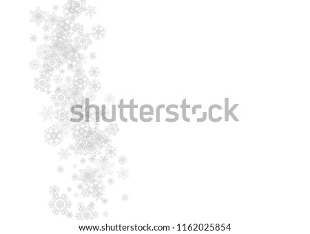 Snowflakes falling on white background. Horizontal Christmas and Happy New Year theme. Silver falling snowflakes for banner, gift card, party invitation, partner compliment and special business offers #1162025854