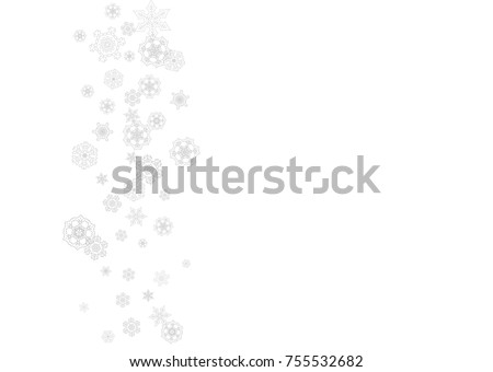 Snowflakes falling on white background. Horizontal Christmas and Happy New Year theme. Silver falling snowflakes for banner, gift card, party invitation, partner compliment and special business offers #755532682