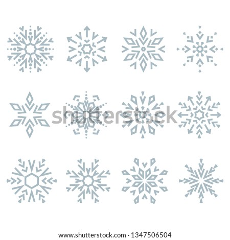 Snowflakes icon collection. Graphic modern blue ornament.