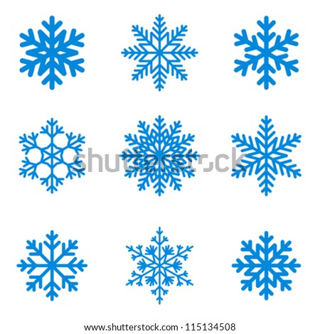 Snowflakes icon collection Vector shape.