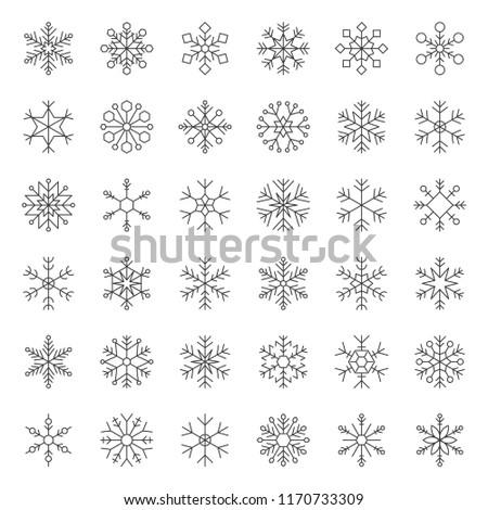 Snowflakes icon pixel perfect editable stroke