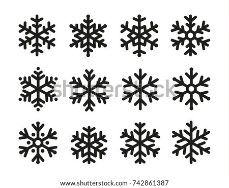 Snowflakes icon set, linear black design, freeze symbol collection, vector logo. Elements of decorating New Year and Christmas holidays.