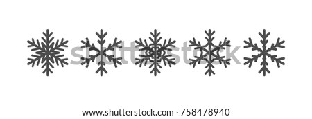 Snowflakes icons set. Black winter silhouettes collection
