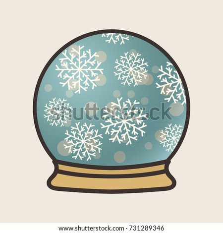 snowflakes in snow globe vector