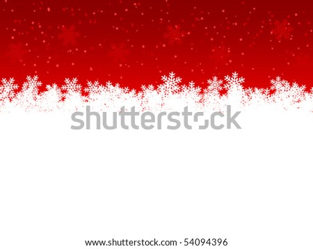 Snowflakes on a red background. Christmas background. Vector illustration. - stock vector