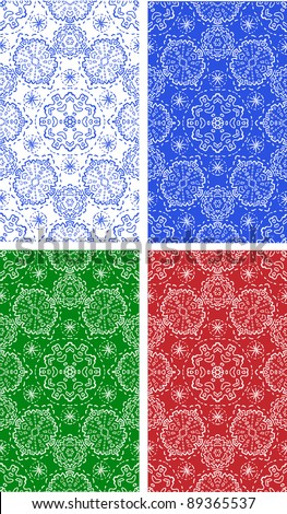 Snowflakes seamless pattern in four colors