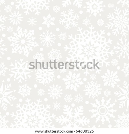 Snowflakes seamless pattern - vector background for continuous replicate. - stock vector