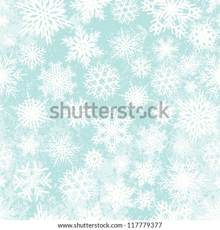 Snowflakes seamless winter Christmas vector pattern.