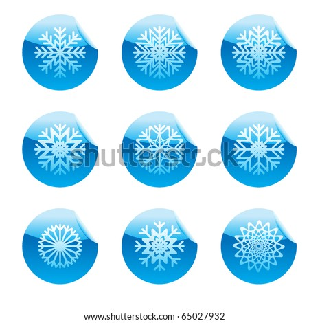 Snowflakes set of square glossy stickers with corner.