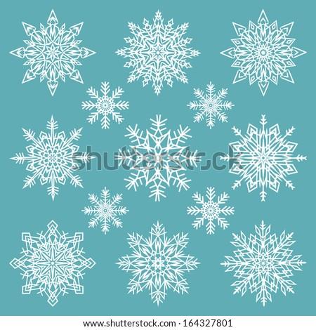 snowflakes set - vector illustration